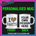 I LOVE HEART DARTS MUG  DART BOARD
